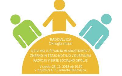 """RADOVLJICA_Vabljeni na okroglo mizo: """"Izzivi vključevanja mladostnikov z zmerno in težjo motnjo v duševnem razvoju v širše socialno okolje"""""""